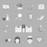 Hospital and emergency icons on gray background Royalty Free Stock Image