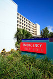 Hospital Emergency Room Sign. Hospital Exterior Emergency Room Sign stock photography