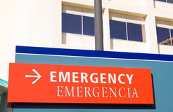 Hospital Emergency Room Sign. Hospital Exterior Emergency Room Sign stock photo