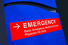 Hospital Emergency Sign. Posted at Entrance to Medical Facility Royalty Free Stock Images