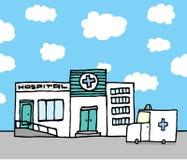Hospital entrance and ambulance Royalty Free Stock Images