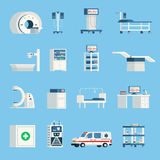 Hospital Equipment Orthogonal Flat Icons. Set of high-tech devices for surgery and examination of patient isolated vector illustration Stock Photo