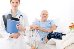 Hospital - female doctor patient broken leg Stock Photography