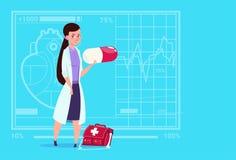 Hospital femenino del trabajador de las clínicas del doctor Holding Pill Medical ilustración del vector
