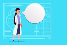 Hospital femenino del trabajador de las clínicas médicas del doctor With Chat Bubble Foto de archivo