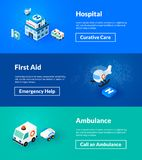 Hospital first aid and ambulance banners of isometric color design royalty free illustration