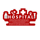 Hospital first aid stamp, badge and template. Flat Royalty Free Stock Images