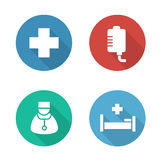 Hospital flat design icons set. Medical drop counter and doctor white silhouette illustrations on color circles. Hospitalization and first aid clinic round Stock Photo