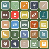 Hospital flat icons on green background Royalty Free Stock Photos