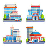 Hospital Flat Isolated Icons. Isolated icons set of modern city hospital and emergency buildings with ambulance car in flat design vector illustration Stock Images