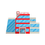 Hospital in flat style isolated on white background. Vector illustration. Medical health protection treatment of diseases, injuries, hospitalization seriously Stock Photos