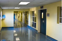 Hospital hallway. Empty hospital hallway, perspective view, healthcare series