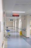 Hospital hallway. With clock and nursing garden cart Royalty Free Stock Photo