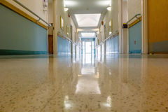 Hospital hallway interior architecture and finishes in corridor Stock Images