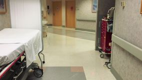 Hospital hallway with nobody around. Shot in UHD 4K stock video footage