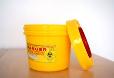 Hospital hazadous container Royalty Free Stock Images