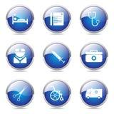 Hospital Health Blue Vector Icon Design Set Royalty Free Stock Photos