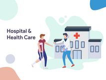 Hospital and Health Care illustration. Modern flat design style for website and mobile website.Vector illustration royalty free illustration