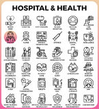 Hospital and Health concept icons. Hospital and Health concept detailed line icons set in modern line icon style concept for ui, ux, web, app design Stock Image
