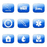Hospital Health Square Vector Blue Icon Set 2 Stock Images