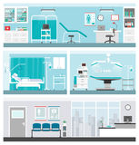 Hospital and healthcare. Banners set, doctor office, ward, surgery operating room, waiting room and reception