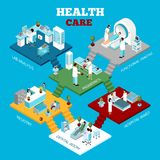 Hospital Healthcare Departments Isometric Composition Poster Stock Photo