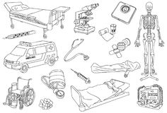 Hospital, healthcare and medical Outline, Sketch and Line Art Vector Illustration. For many purpose such as hospital industry, medical tools product promo kit Vector Illustration