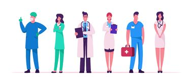 Free Hospital Healthcare Staff Set, Doctors In Medical Robe With Stethoscope Holding Notebook, Surgeon Character In Uniform Stock Photos - 158631243