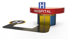 Hospital with heliport Stock Photography