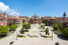 Hospital of the Holy Cross and Saint Paul de la Santa Creu i Sant Pau in Barcelona, Spain Stock Images