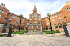 Hospital of the Holy Cross and Saint Paul by A. Gaudi, Barcelona stock images