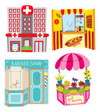 Hospital, hotdog booth, barber shop and flower shop Royalty Free Stock Image
