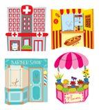 Hospital, hotdog booth, barber shop and flower shop Royalty Free Stock Image