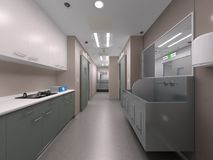 Hospital hygiene. 3d rendering of a hospital corridor Royalty Free Stock Photography