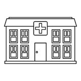 Hospital icon, outline style Royalty Free Stock Images