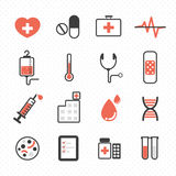 Hospital icon. On polka dot background vector Royalty Free Stock Image
