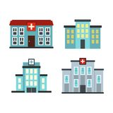 Hospital icon set, flat style. Hospital icon set. Flat set of hospital vector icons for web design isolated on white background Stock Image