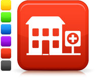 Hospital icon on square internet button Stock Image