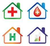 Hospital icons. Illustration of hospital icons on white background Royalty Free Stock Photo