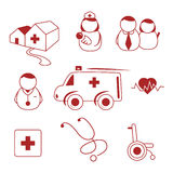 Hospital icons. Hospital and health related Royalty Free Stock Photos