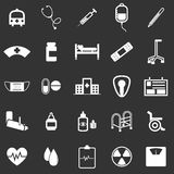 Hospital icons on black background Royalty Free Stock Photos