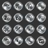Hospital Icons on Metal Internet Buttons. 
