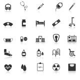 Hospital icons with reflect on white background Royalty Free Stock Photos