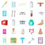 Hospital icons set, cartoon style Royalty Free Stock Image