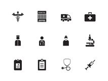 Hospital icons on white background. Stock Photos