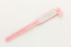 Hospital ID bracelet in pink for girls Royalty Free Stock Image