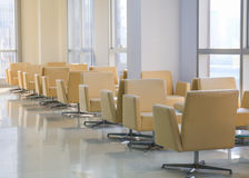 Hospital indoor hallway and waiting seats Stock Photos