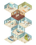 Hospital Indoors Isometric Design Concept. Set of reception ward operating room cabinet of functional diagnostics interiors vector illustration Royalty Free Stock Photos