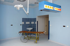 Hospital interior. An interior of a hospital building with a  wheel bed Royalty Free Stock Photos