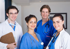 Hospital interns. Group of young hospital interns portrait stock images